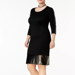 Say What? Trendy Faux-Leather Trim Sweater Dress